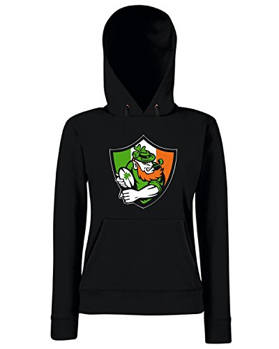 T-Shirtshock - Sweats a capuche Femme TRUG0113 irish leprechaun rugby logo Noir