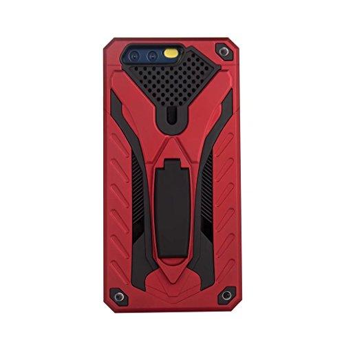 EKINHUI Case Cover Neue Stylish Hybrid Armor Schutzhülle Case Shockproof Dual Layer PC + TPU Back Cover mit Kickstand für [Shock Absorbtion] für Huawei P10 ( Color : Rosegold ) Red