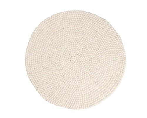 Shirisha: rund Fantastische weiße Designer Gefilzt Balls Runde Filzteppiche Online Kaufen (70cm /...