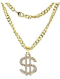 JMZDAW Collana pendente Hip Hop Gioielli Denaro Dollaro Styling Collana  Catena in Oro Gioielli Accessori Femmina 267e4c1b5366