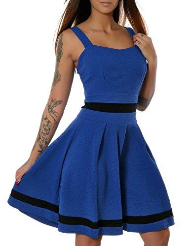 Damen Rockabilly 50er Jahre Sommer Kleid Pin-Up (weitere Farben) No 15554, Farbe:Blau;Größe:S / (Up Pin Jahre 50er Mädchen Kostüme)