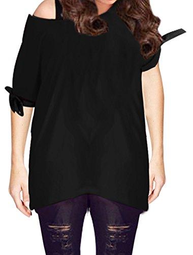 Femme Douceur Cravate Corde Manches Courtes Extensible En Vrac T-shirt Noir