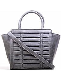 Hopping Street Stylish Elegance Fashion Grey Color Faux Leather Handbag for Women