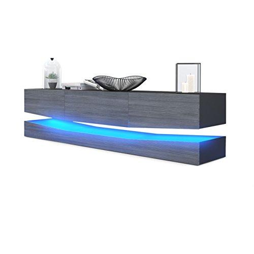 Meuble TV Armoire basse City, Corps en Noir mat / Façades en Avola-Anthracite avec l'éclairage LED