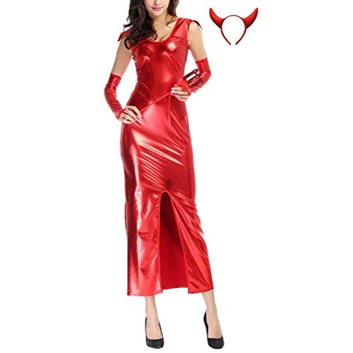 Huixin Novelty Special Design Womens Devil Red Elegant Sleeveless Leather Long Dresses Halloween Cosplay Costumes Faschingskostüme (Color : Rot, Size : XL) (Damen Red Devil Kostüm)