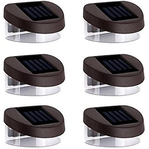 FVLU Luci 6pcs 2LED Solar Luci da parete Stair Lights parapetto Luci viale Lights Illuminazione esterna , white