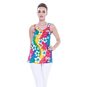 Aloha-Fashion-Mujeres-camiseta-con-capucha-floral-hawaiana-en-Arco-iris-floral
