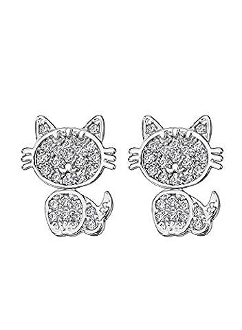Neoglory Jewellery Silber Ohrstecker Kätzchen niedlich und liebevoll mit AAA Zirkonia Damen Mädchen (Einfache Katze-kostüme Für Frauen)