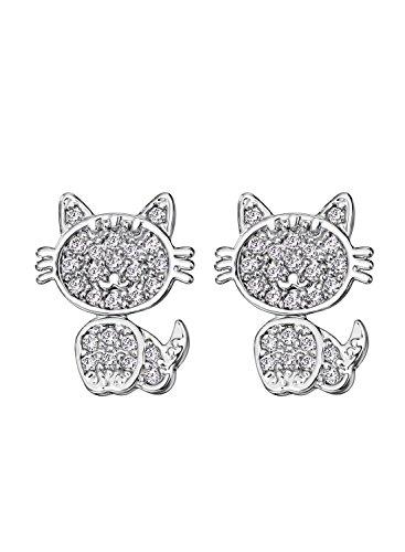 Neoglory Jewellery Silber Ohrstecker Kätzchen niedlich und liebevoll mit AAA Zirkonia Damen Mädchen (In Halloween Niedliche Kätzchen Einem Kostüme)
