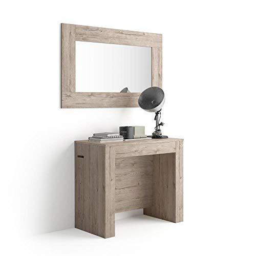 Mobili Fiver, Table Console Extensible avec Porte-rallonges, Easy, Chêne, 45 x 90 x 76 cm, Mélaminé/Aluminium, Made in Italy