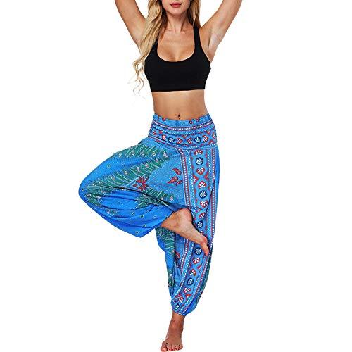 Boho Yogahosen für Damen Tummy Control Leggings Sport Breites Bein Lose Sporthose für Workout Gym Yoga Joggen Trainings Fitness Matt Casual Hosen riou (Free, Blau) -