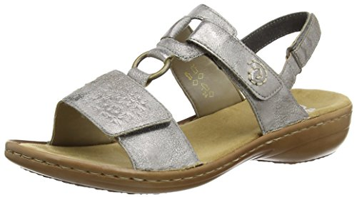 Rieker - 60887 Women Open Toe, Sandali Donna Grigio (Grau (grey / 40))