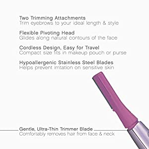 Panasonic ES2113PC Facial Hair Trimmer for Women, with Pivoting Head and Eyebrow Trimmer Attachments, Battery-Operated