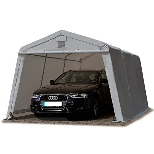 TOOLPORT Zeltgarage 3,3 x 4,8 m Weidezelt Premium Carport 500 g/m2 PVC Plane Unterstand Lagerzelt Garage in dunkelgrau