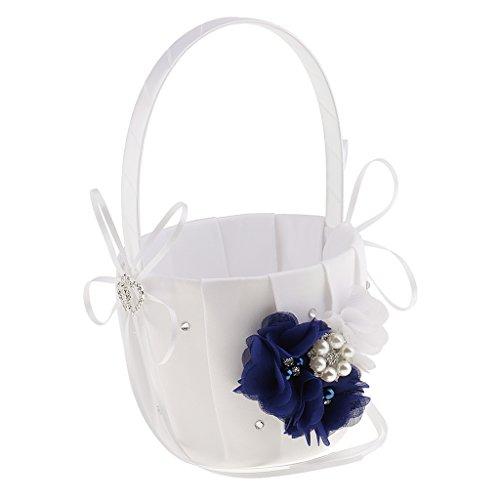 Fenteer Elegante Blumenmädchenkörbchen Streukörbchen Blumenkörbe Blumendeko - Blau