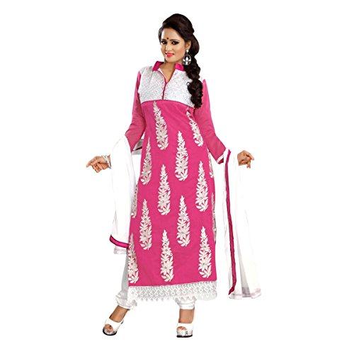 Triveni Frauen Indianer evozieren Rosa Farbiger gestickte Chanderi Cotton Salwar Kameez Net Salwar