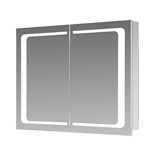 #Eurosan 2-türiger Spiegelschrank, Integrierte LED-Frontbeleuchtung, Breite 80 cm, Weiß, London, L80#