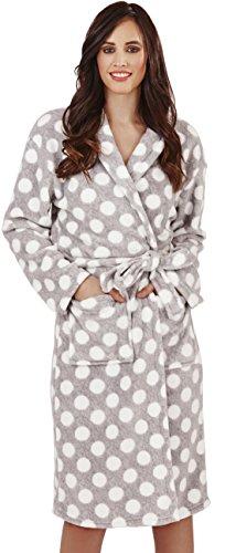 Luxuriöse Damen Spotted Print Corel Fleece Midi Robe, Talar, 2 Taschen, Kapuze mit Ohren und passender Krawatte Gürtel, Grau, Medium (Tasche Robe)