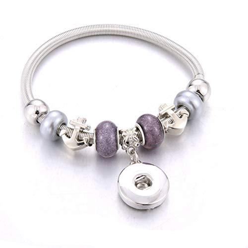 ZKZDSL Armband,Elastizität Druckknopf Armband Perlen Snap Armband Fit Snap Buttons Schmuck Naturstein Perlen Grau (Perlen-snap Button Armbänder)