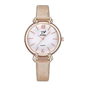 Hffan Damen Einfach Retro Uhr mit Lederband Quarzuhr Frauen Freizeituhr Modisch Beobachten Tabelle Handschmuck Armband Uhren Damenuhr