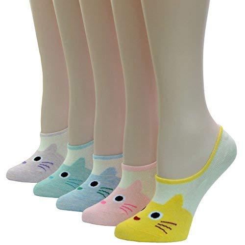 HapiLeap Frauen Unsichtbare Socken- Flats Footie Cartoon Nettes Tier No Show Low Socks - Packung mit 5 (Schnelle Füße-fußball-trainer)