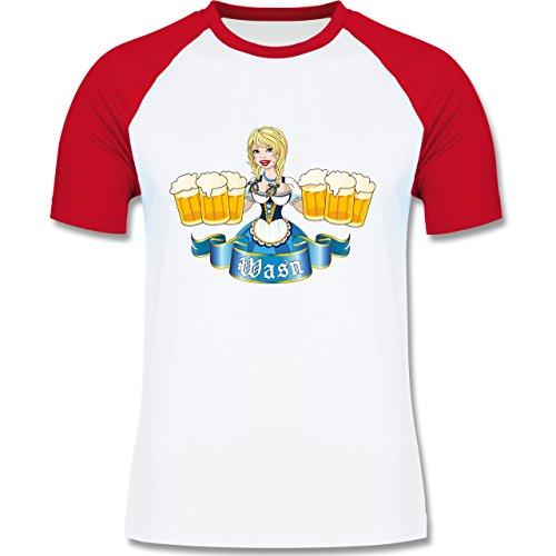Shirtracer Oktoberfest Herren - Wasn Madel - Herren Baseball Shirt Weiß/Rot