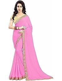 DIYA Fashion Women's Georgette Saree With Blouse Piece (Diyafashionlightpinkcutwork(M), Pink, Free Size)