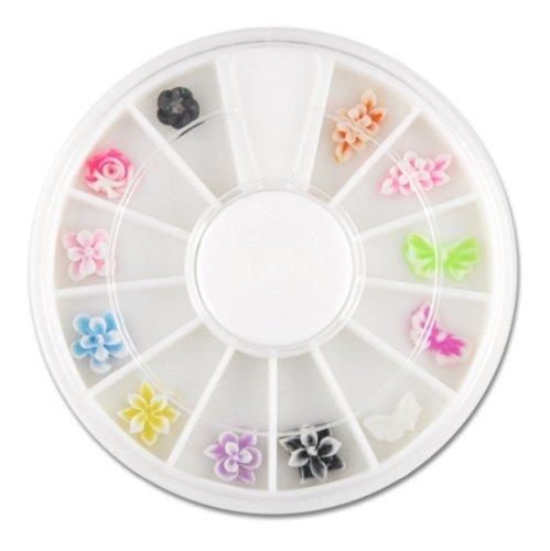 12 verschiedene 3D-Nailart FIMO Figuren im Rondell - Blüten und Schmetterlinge (3d-fimo)