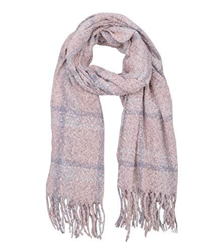 SIX Großer kuscheliger warmer Bouclé Schal mit pastellfarbenen rosa grau creme weißen Karos, 60 x 200 cm (705-501) -