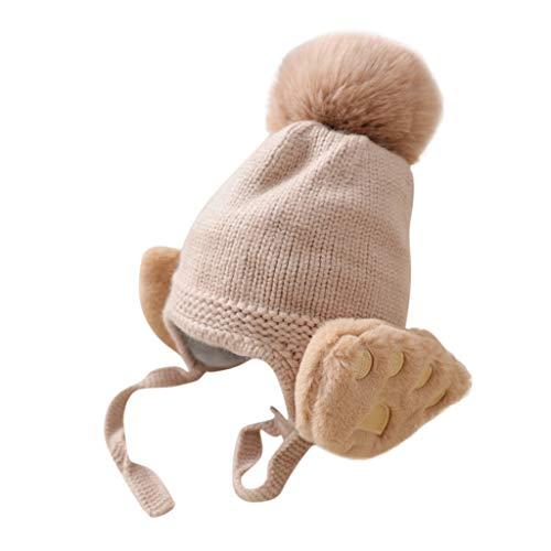 Unisex - Baby Mütze Unifarbe Strickmütze warm Wintermütze Cartoon Kleinkind Earflap Beanie Warm Crochet Knit Cap
