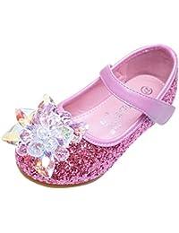 Eozy Kinder Mädchen Prinzessin Schuhe mit Absatz Glitzer Party Ballerinas  Schuhe ece1ae801b