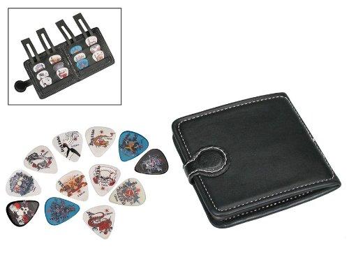 Cartera para púas de guitarra y 12púas de celuloide/púas (al azar juegos de colores/diseños–3cada uno de 4grosores)