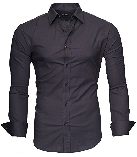 KAYHAN Homme Chemise Slim Fit Repassage facile, Manches Longues Modell - UNI Color Grey