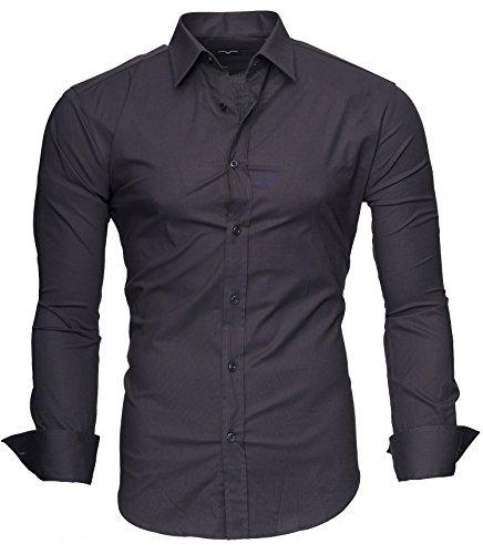 Kayhan langarmhemd slim fit 20 farben zur auswahl s-xxl grau (xxl)