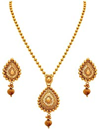 BFC-Traditional Ethnic One Gram Gold Plated Designer Pendant Set With Earring For Women And Girls.