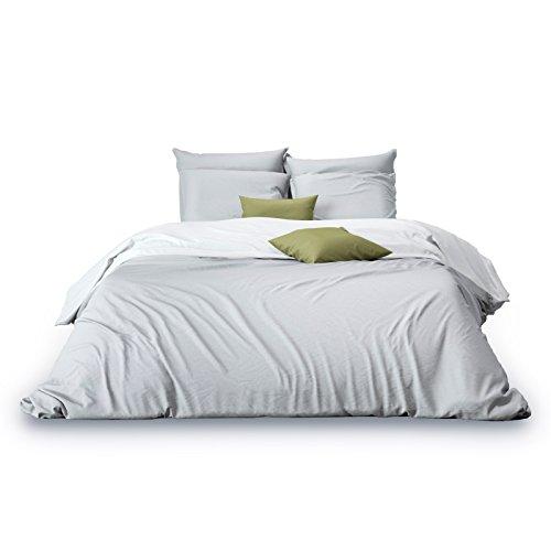 Matrazzo Bettwäsche Azara, Mako Perkal 100% ägyptische Baumwolle (Weiß-Hellgrau, 155x220 cm + 40x80 cm) - Ägyptische Baumwolle Bett
