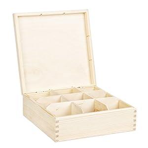 grande boîte à thé en bois naturel avec 9 compartiments 22,5 x 22,5 x 8 cm