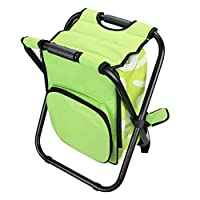 zhruiqun Portable Folding Stool Cooler Bag - Easy Seat Outdoor Camping Travel Hiking Beach Backpack Chair(Green/36 * 31 * 44cm)