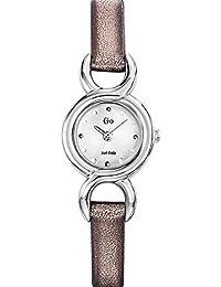 Go Girl Only–698714Damen-Armbanduhr 045J699Analog silber–Armband Leder grau