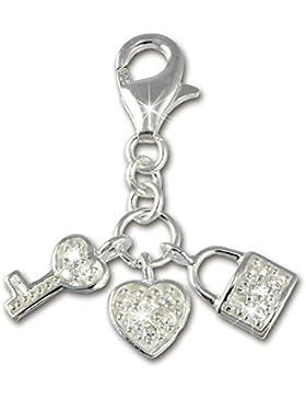 SilberDream 925 Sterling Silber Charm Herz Schlüssel Anhänger für Armband Kette Ohrring FC224W