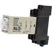 Heschen - Relé de retardo con temporizador H3Y-2 (12VCC, 0 a 3 minutos, 250VCA, 5A, 8pines, borne DPDT con base de conexión DYF08 35mm DIN
