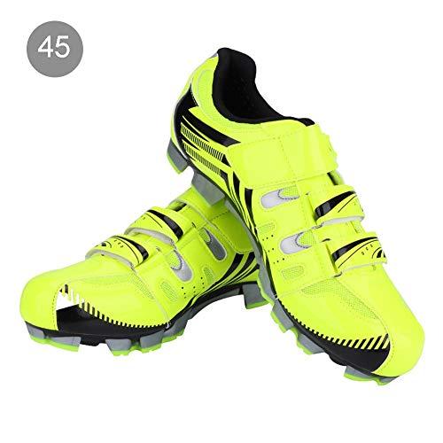 Alomejor Herren Radfahren Schuhe Atmungsaktiv Mountainbike Anti-Skid SPD System Radfahren Schuhe für Erwachsene(45-Grün) (Radfahren Mountainbike Schuhe)
