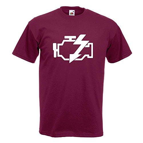 Kiwistar Motorkontrollleuchte T-Shirt in 15 verschiedenen Farben Herren Funshirt bedruckt Design Sprüche Spruch Motive Oberteil Baumwolle Print Größe S M L XL XXL Burgund