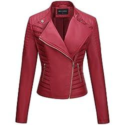 Bellivera Chaqueta de Cuero PU para Mujer, Chaqueta con Bolsillos con Cremallera, Chaqueta corta Para el Otono, Primavera, Rojo, XL