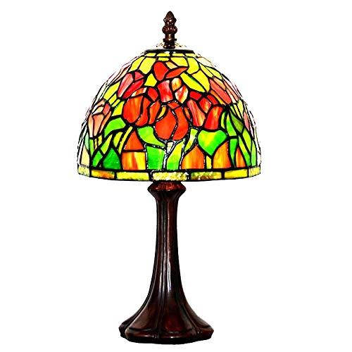 QCKDQ 8inch Tiffany Stil Tischlampe, Buntglastisch mit Online-Schalter, Retro-Wohnzimmer, Dekoration Nachtlicht 40w