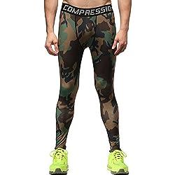 Cody Lundin® Nueva llegada Primavera verano compresión Fitness hombres pantalones, Camo deportes pantalones apretado los hombres de camuflaje (S, Camuflaje verde militar)