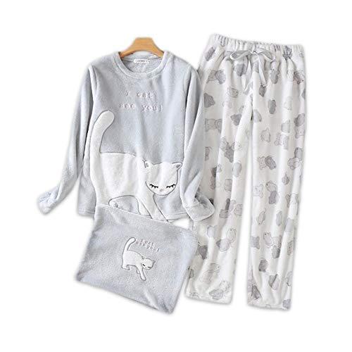 DUKUNKUN Pyjamas Setzt Frauen Niedlichen Cartoon Coral Fleece Langarm Nachtwäsche-M