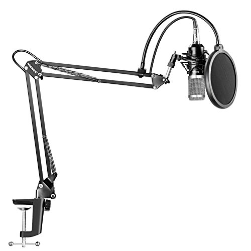 Neewer NW-800 Microphone à Condensateur Argent Professionnel pour Studio Radiodiffusion et NW-35 Suppot de Suspension à Bras Ciseaux Réglable pour Microphone avec Support Antichoc et Kit de Fixation