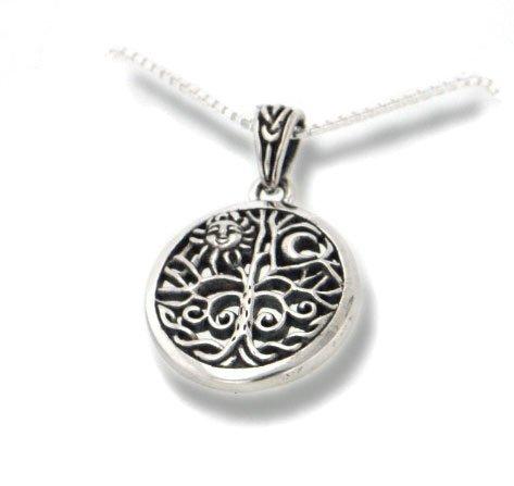 Arbre de vie celtique Art Symbole avec soleil et lune Pendentif en argent sterling avec collier de 45,7cm