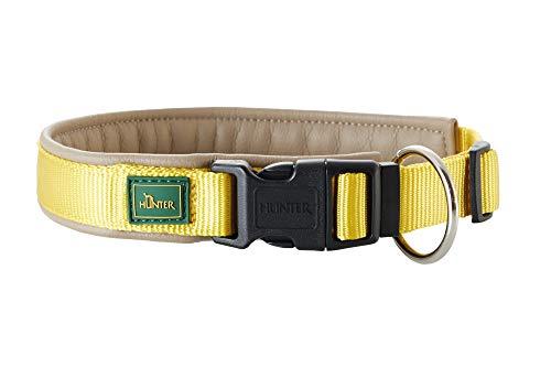 HUNTER SEVILLA VARIO PLUS Halsung für Hunde, Nylon, mit Kunstleder unterlegt, Zugentlastung, 40, gelb/taupe -